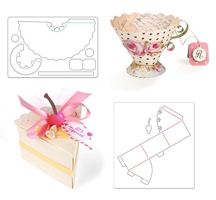 Шаблони за изрязване на кутийки и триизмерни хартиени фигури.