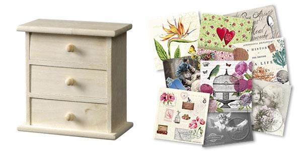 Дървена кутия - шкафче с чекмеджета